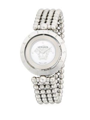 Versace Logo Stainless Steel Bracelet Watch In Grey
