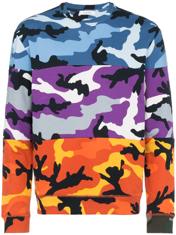 Valentino Camouflage-Print Oopback Cotton-Blend Jersey Sweatshirt - Multi In Multicolor