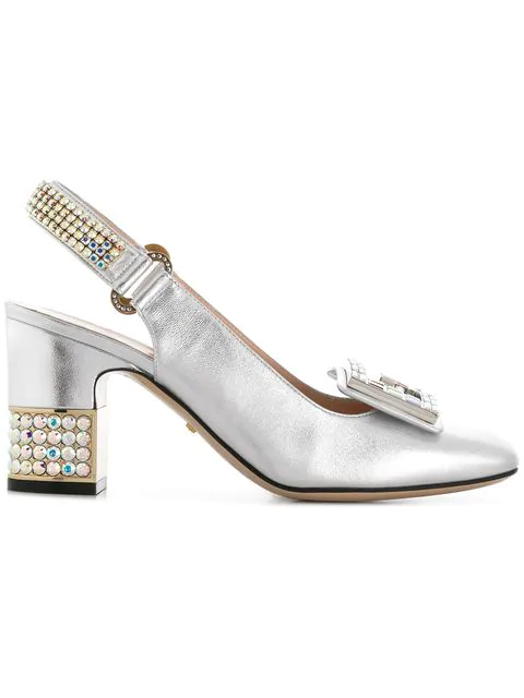Gucci Leather Mid-Heel Slingback Pump With Crystal G In Silver