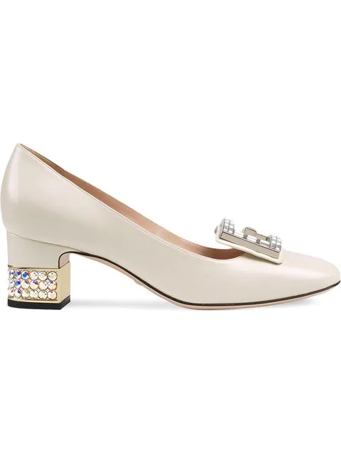 Gucci Women's Leather & Crystal G Mid Heel Pumps In White