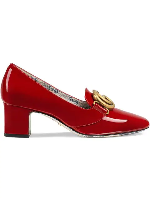 Gucci Patent Leather Mid-Heel Pumps With Double G In Red