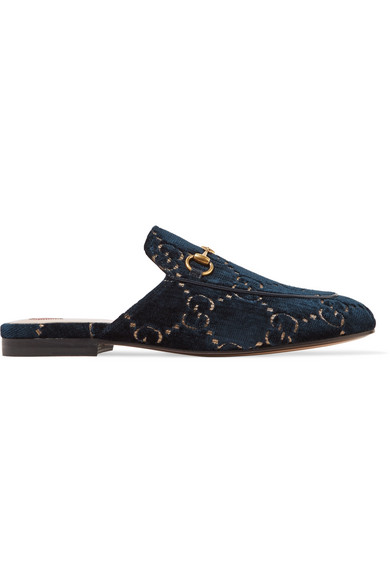 Gucci Princetown Horsebit-Detailed Leather-Trimmed Embroidered Velvet Slippers In Midnight Blue