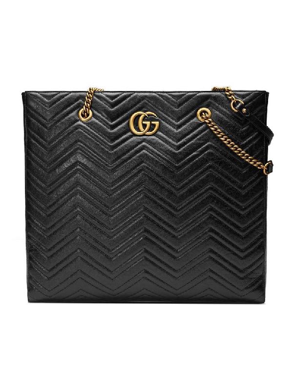 c1794ada6f29 Gucci Gg Marmont 2.0 Matelasse Leather North/South Tote Bag - Black ...