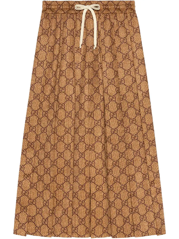 347d511a17ea43 Gucci Gg-Print Technical Jersey Pleated Midi Skirt, Camel In Brown ...