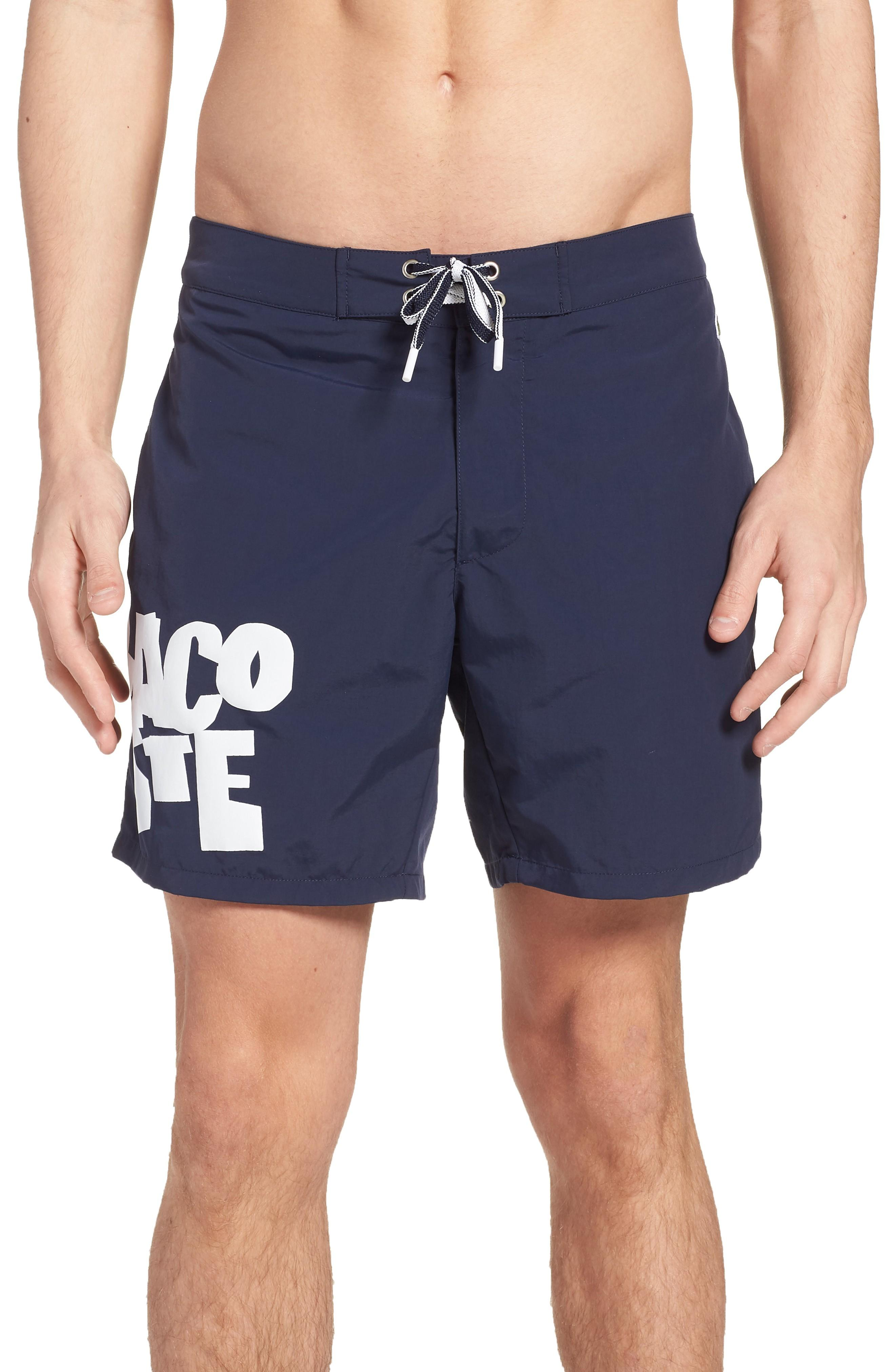Lacoste Graphic Swim Trunks In Navy Blue
