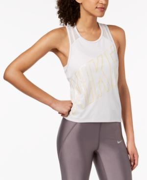 Nike Dry Miler Cropped Racerback Running Tank Top In Vast Grey