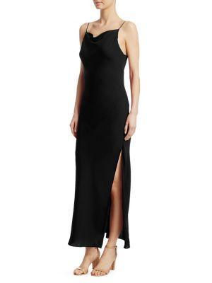 b2d4a94c6e Theory Draped Sleeveless Silk Maxi Slip Dress In Black