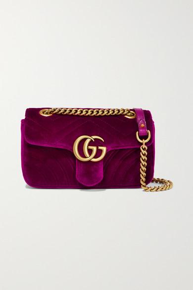 Gucci Gg Marmont 2.0 Suede Shoulder Bag, <Font><Font>Fuchsia</Font></Font> In 5671 Rosa
