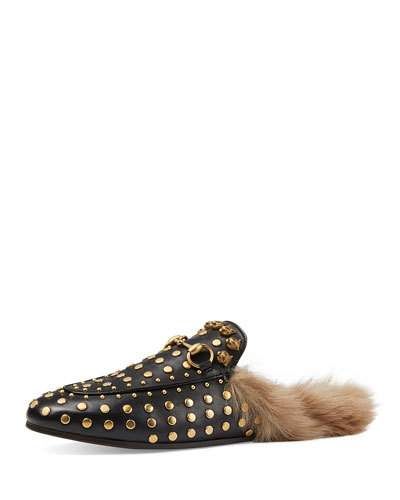 33686cddf28 Gucci  Princetown  Studded Genuine Shearling Mule Loafer (Women) In ...