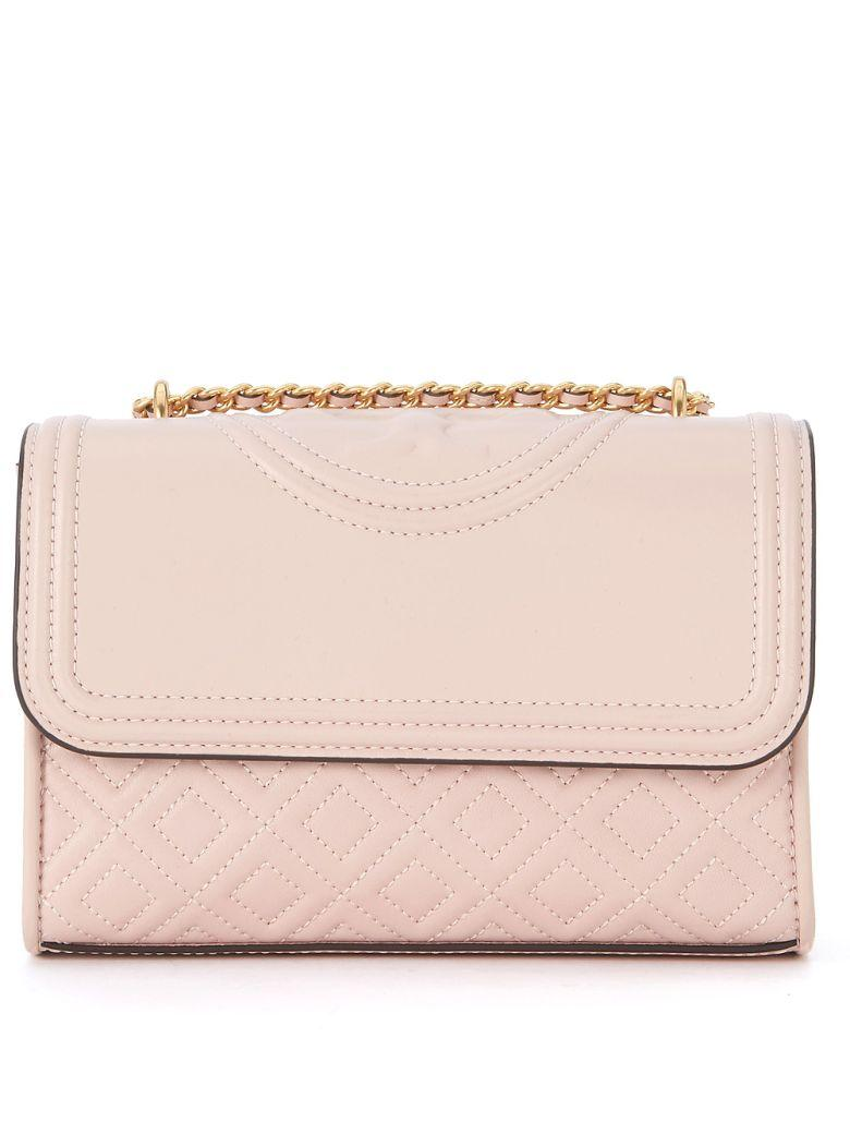 Tory Burch Fleming Small Pink Leather Shoulder Bag In Rosa