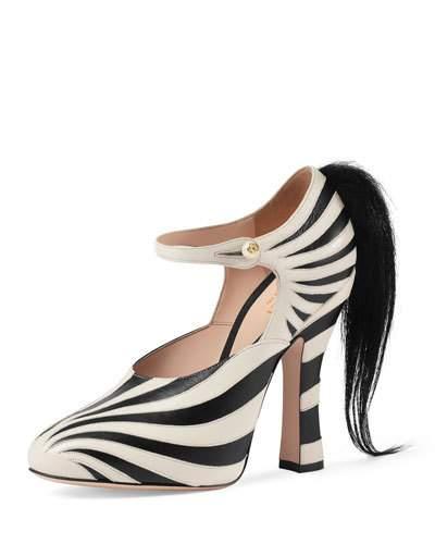 b9d2b926d Gucci Lesley Zebra-AppliquÉ Leather Pumps In Black White | ModeSens
