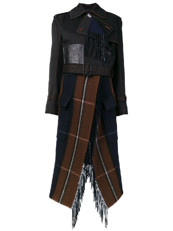 Loewe Cropped Asymmetric Cotton And Checked Wool-blend Trench Coat In Black