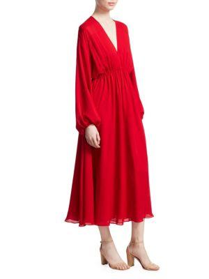 Elizabeth And James Norma Long Sleeve V-Neck Dress In Bright Red