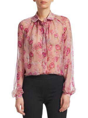Giambattista Valli Floral-Print Silk Chiffon Shirt In Pink