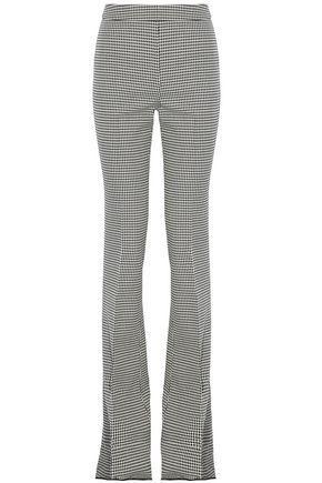 Giambattista Valli Woman Houndstooth Wool Bootcut Pants Gray