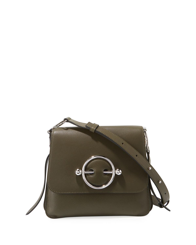 Jw Anderson Disc Leather Crossbody Bag - Green In Khaki