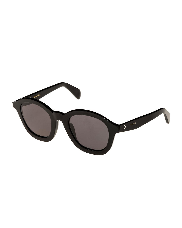 41361a9885aa Celine Round Acetate International-Fit Sunglasses In Black