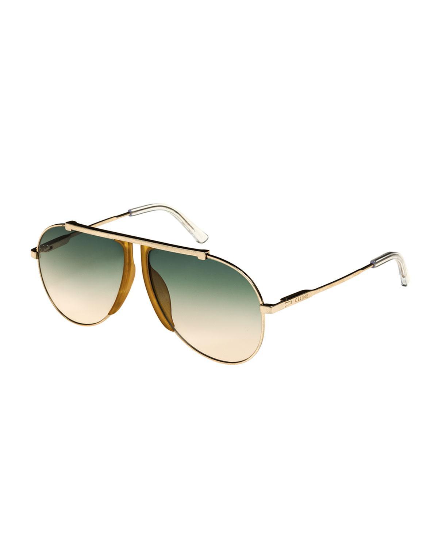 63e4fbaf2b07 Celine Metal Acetate Pilot Sunglasses In Yellow Pattern