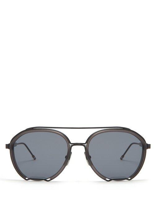 Thom Browne Aviator-Frame Sunglasses In Black