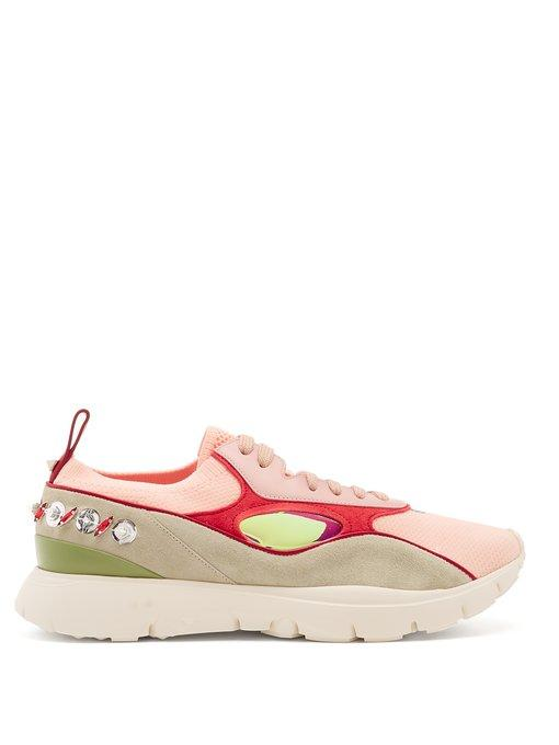 0dc7f91983b1b Valentino - Leather And Knitted Low Top Trainers - Womens - Light Pink