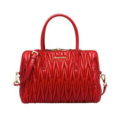 Miu Miu MatelassÉ Leather Handbag In Fire Engine Red
