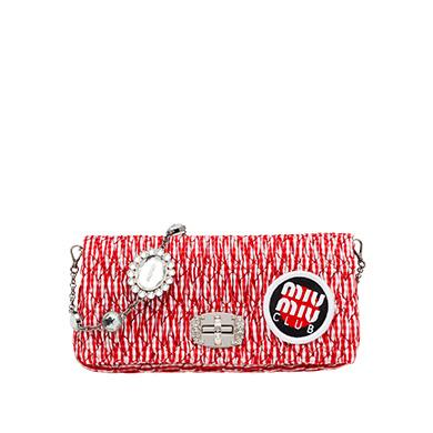 f5ee9ccef566 Miu Miu Iconic Crystal Cloqué Fabric Bag In Red Vichy Check