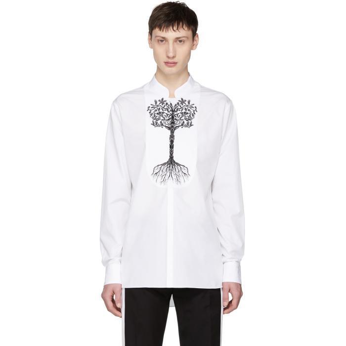 b9847f905 Alexander Mcqueen White Tree Of Life Officer Collar Shirt | ModeSens