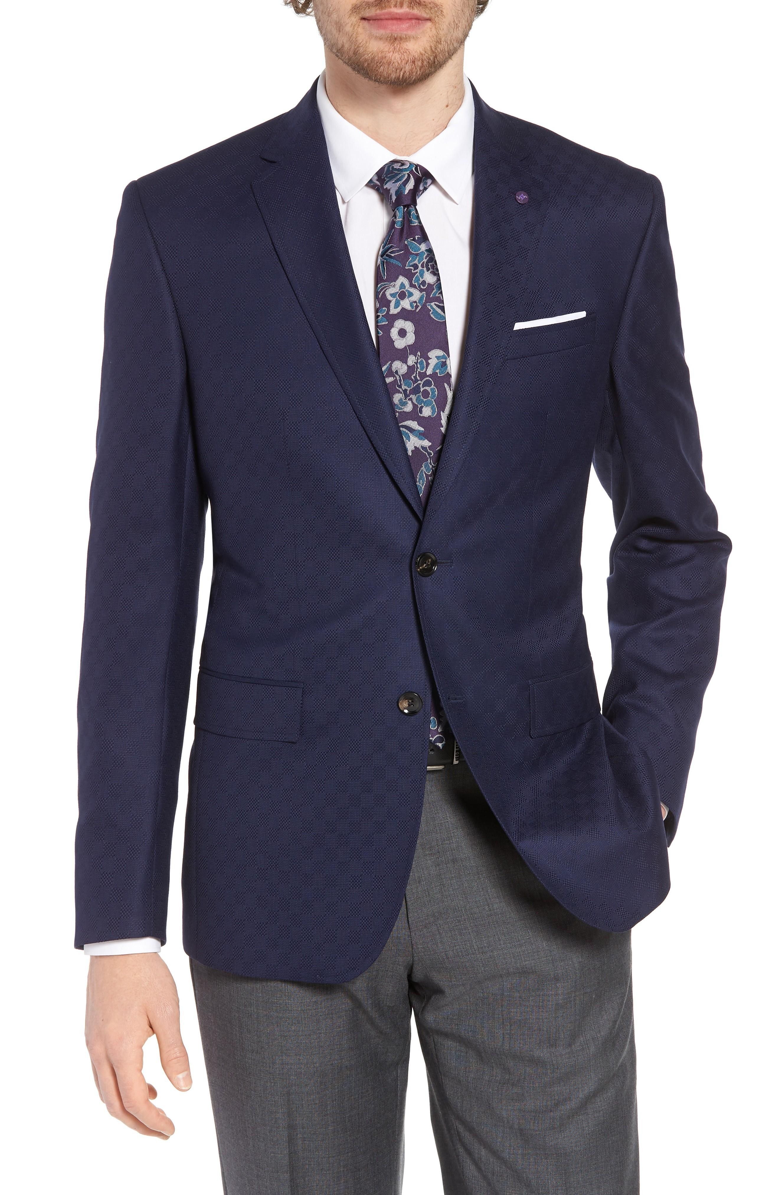 549dd9bf8eab Ted Baker Jay Trim Fit Check Wool Sport Coat In Navy | ModeSens
