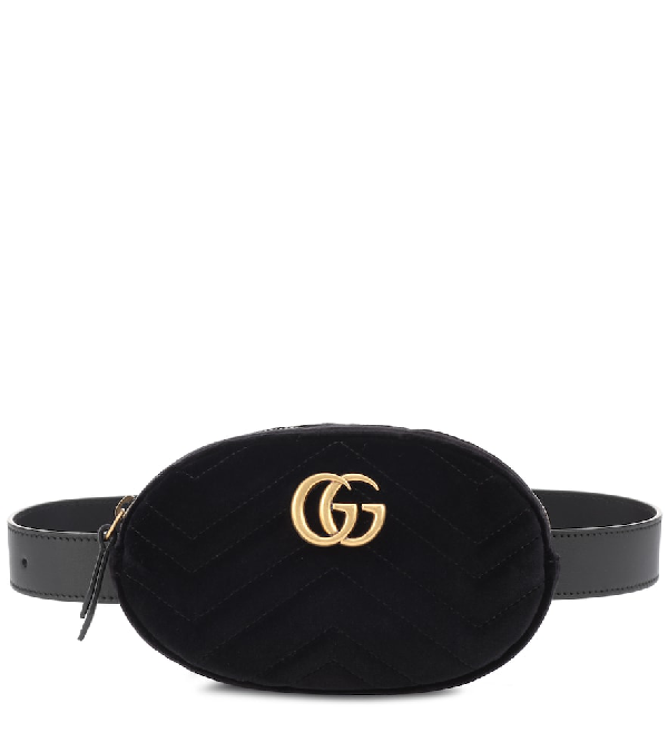 dcc390025e531 Gucci Small Gg Marmont 2.0 Velvet Belt Bag In Black