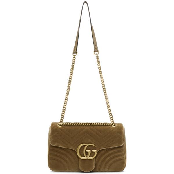 Gucci Medium Gg Marmont 2.0 Matelasse Velvet Shoulder Bag - Brown