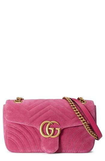 c357dd6b133d Gucci Medium Gg Marmont 2.0 Matelasse Velvet Shoulder Bag - Pink In  Raspberry/ Raspberry Multi