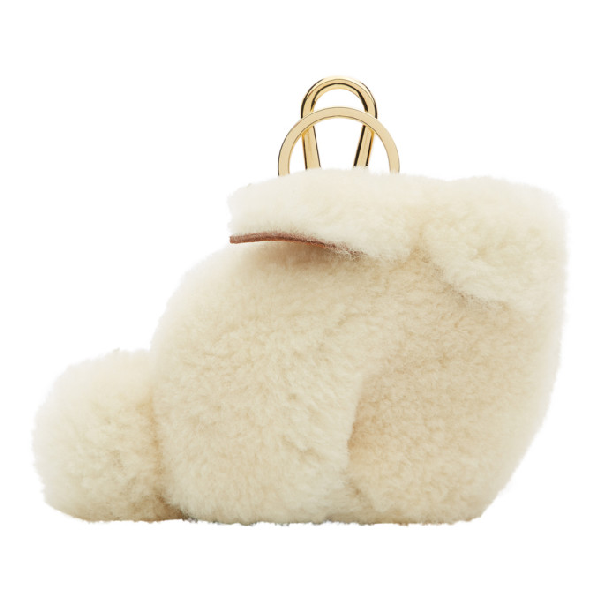 Loewe Bunny Charm Bag Accessory In Natural Shearling And Brass In 2123 Natura