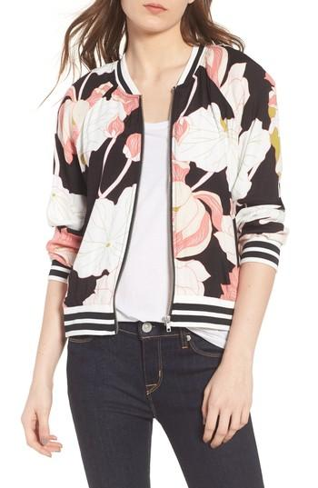 Cupcakes And Cashmere Adrienne Water Lilies Jacket In Black