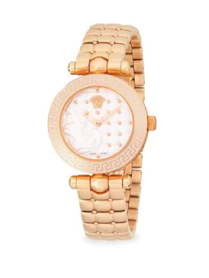 Versace Stainless Steel Bracelet Watch In Rose Gold