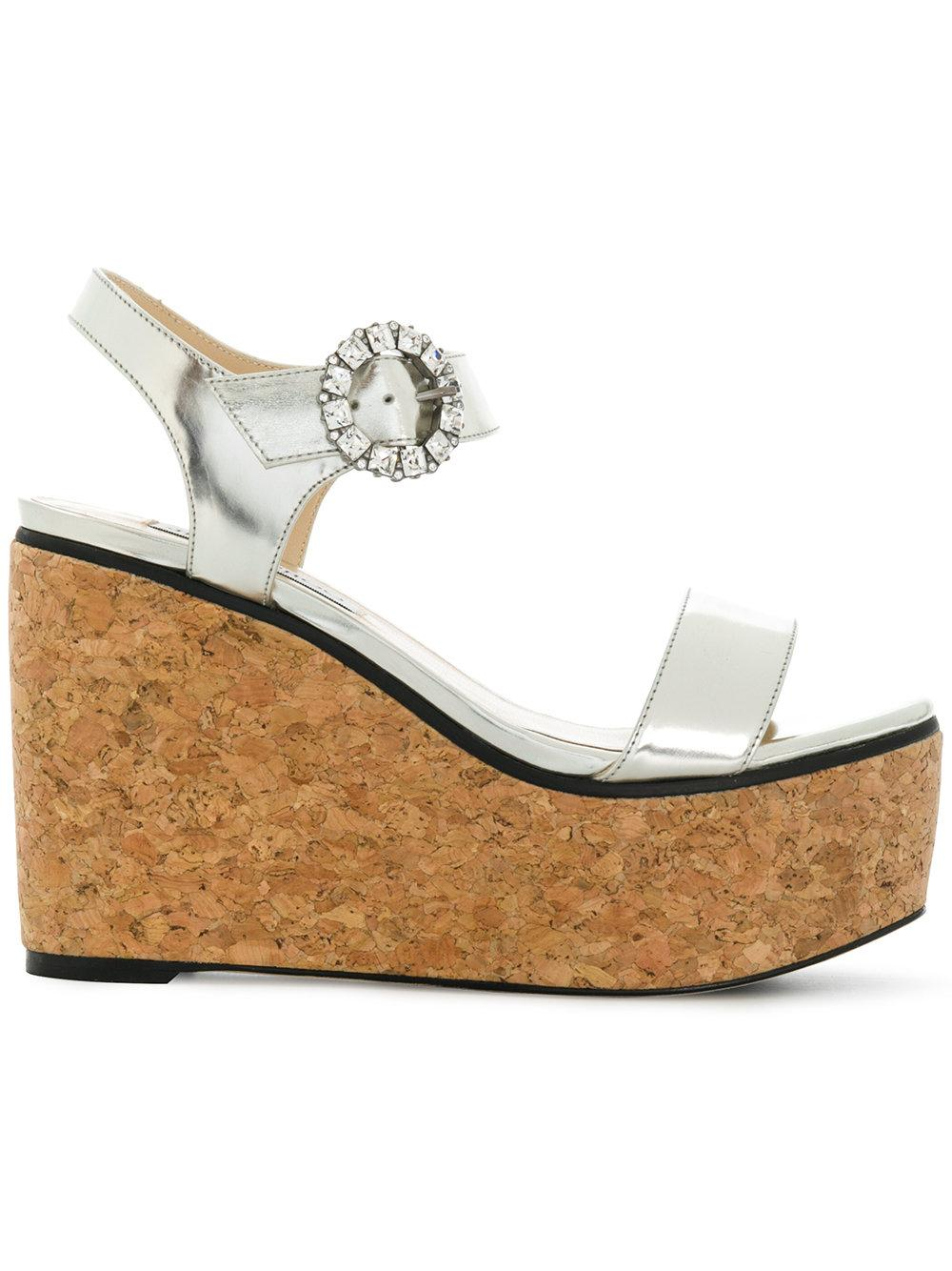 ca88e556a93f Jimmy Choo Nylah 100 Silver Mirror Leather Cork Wedge Sandals With ...