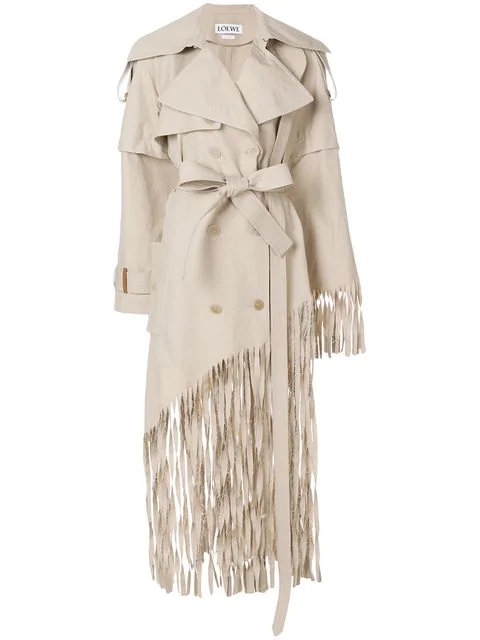 Loewe Fringed Trench Coat In Neutrals