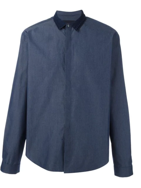 Juun.J Contrast Collar Shirt In Blue
