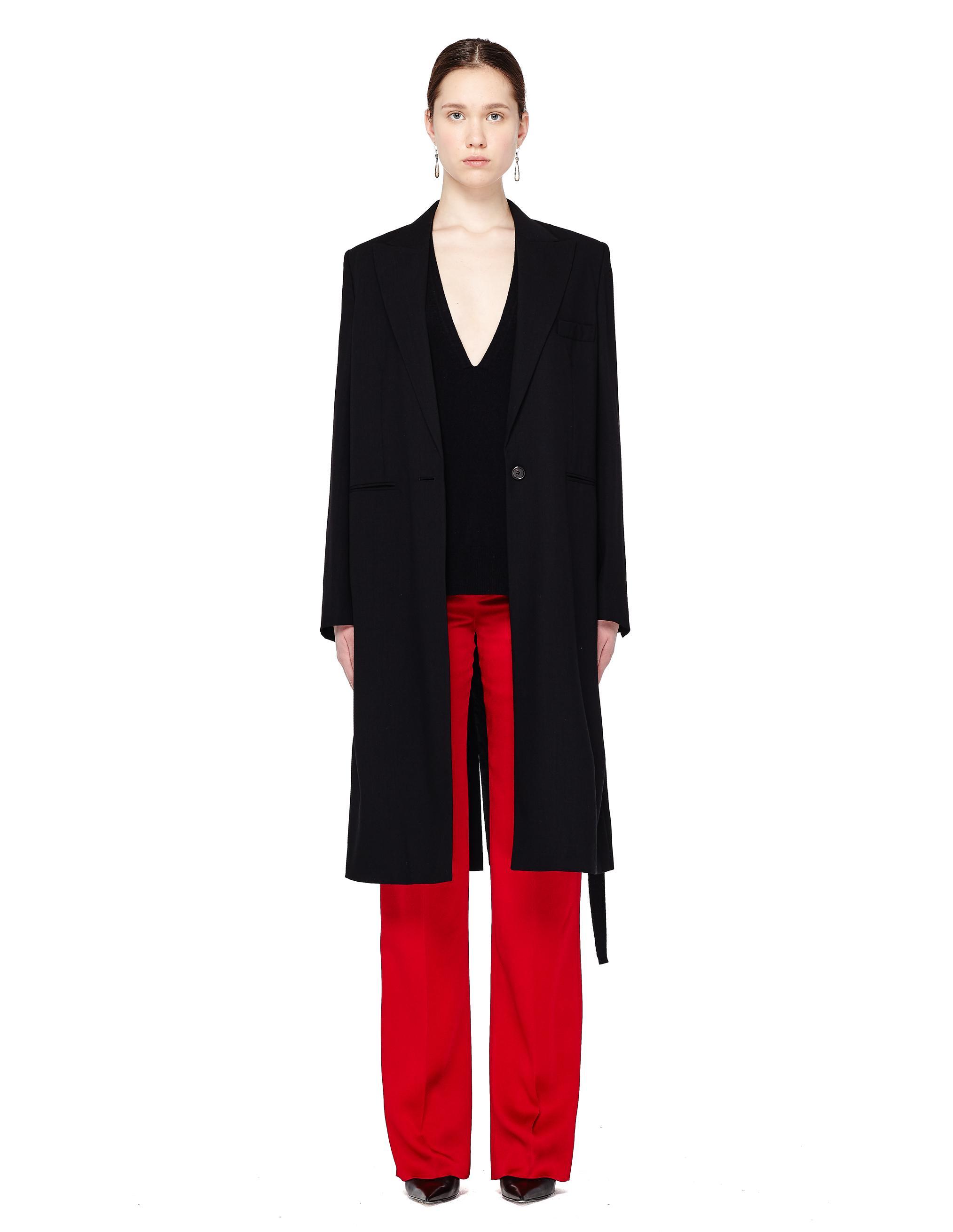 Ann Demeulemeester Women's Black Wool Belted Coat
