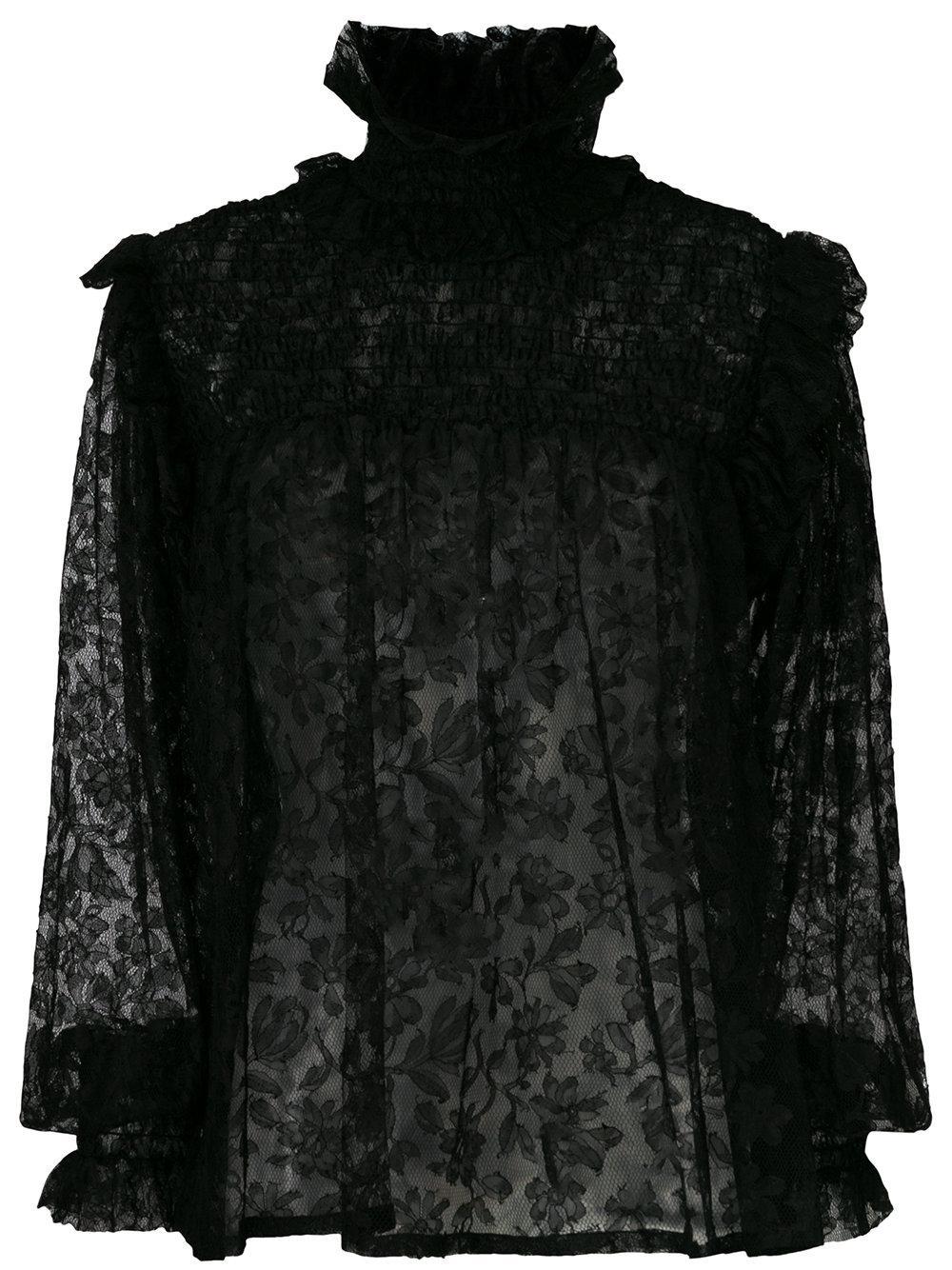 Saint Laurent Lace Floral Pattern Blouse - Black