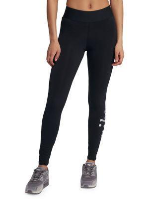 707d42bf3bd38e Nike Plus Size Metallic-Logo High-Rise Ankle Leggings In Black/ Black