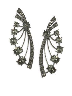 8046317e2 Oscar De La Renta Crystal Fan Earrings In Black | ModeSens