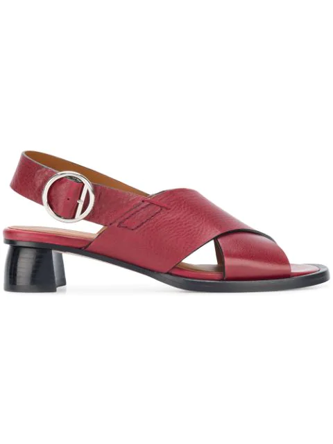 Joseph Crossover Strap Sandals In Red