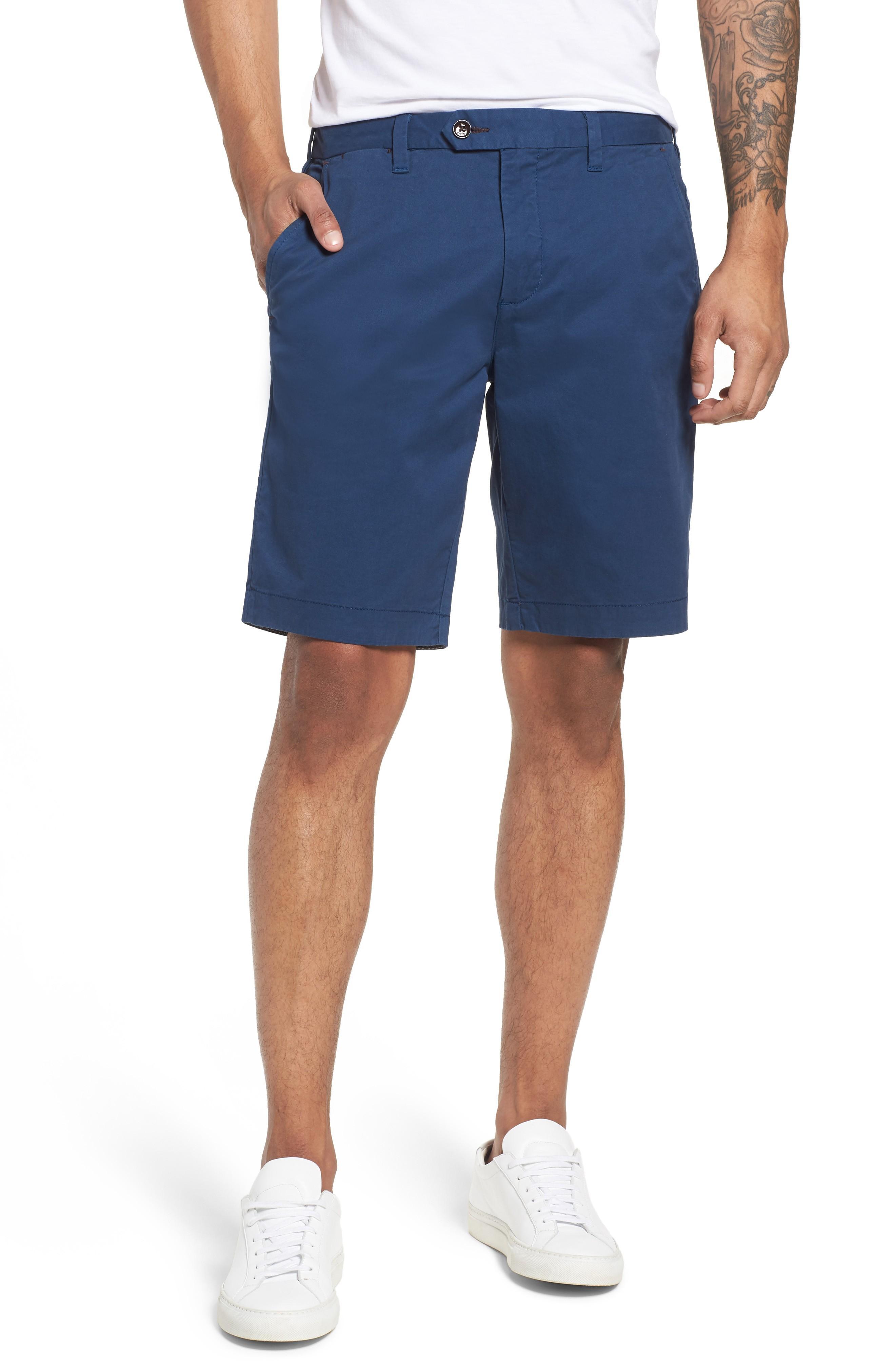 Ted Baker Proshtt Stretch Cotton Shorts In Dark Blue