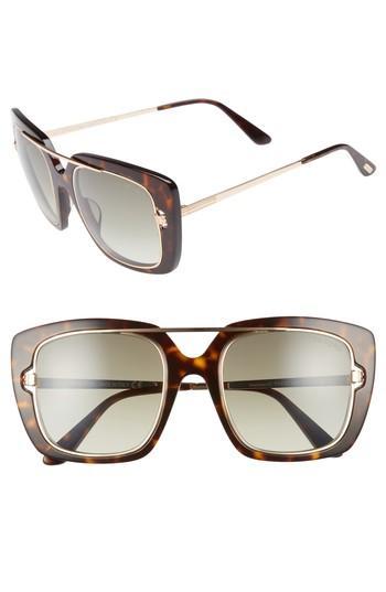 Tom Ford Marissa 52Mm Sunglasses - Dark Havana/ Gradient Green