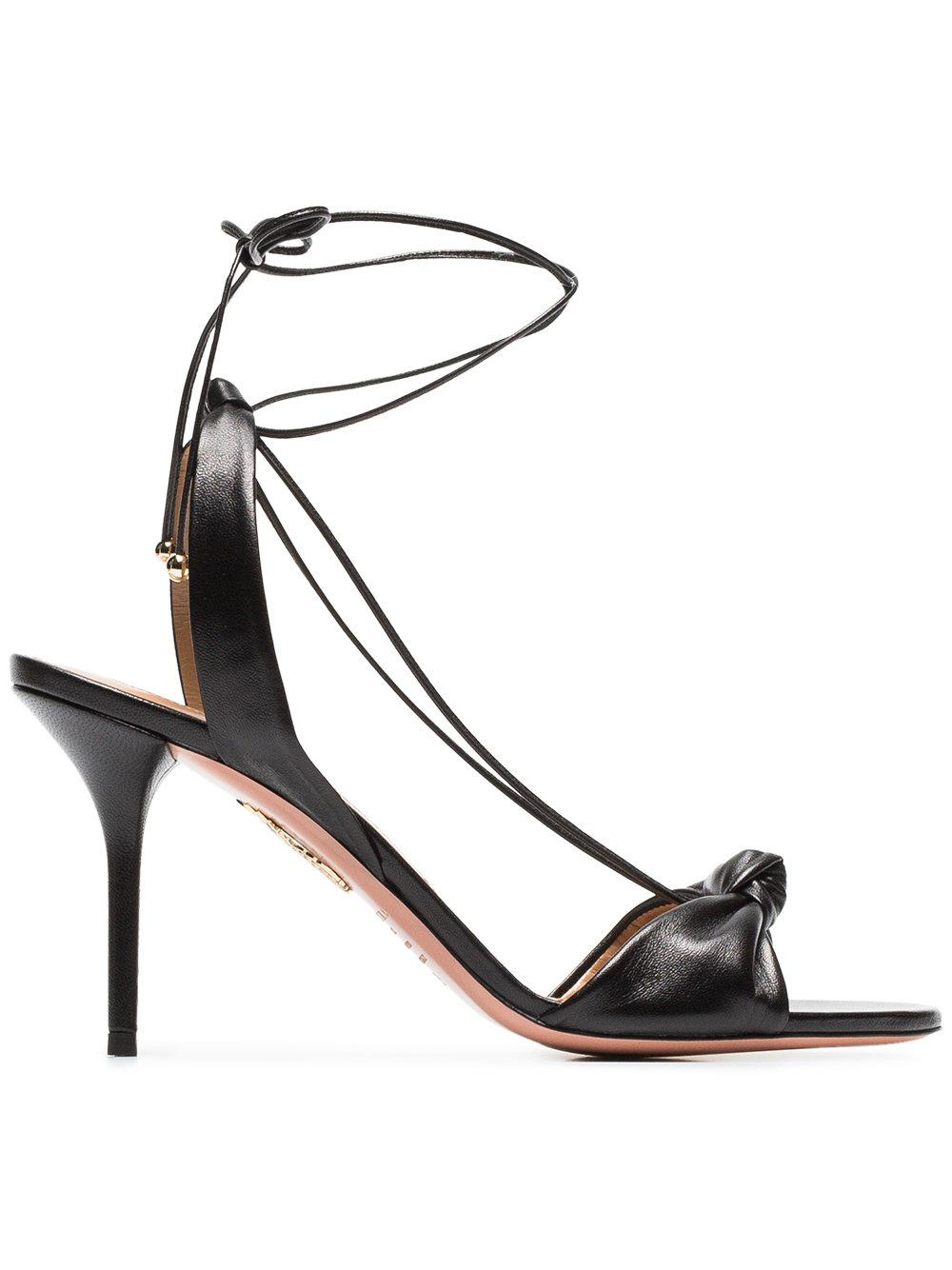 2287a0ff80ab Aquazzura Virginie 85 Knot-Front Leather Sandals In Black