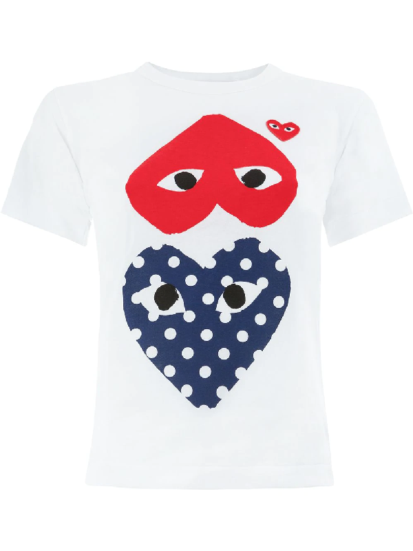 ef21566940f23d Comme Des GarÇOns Play Comme Des Garcons Play White Polka Dot Heart Logo T- Shirt