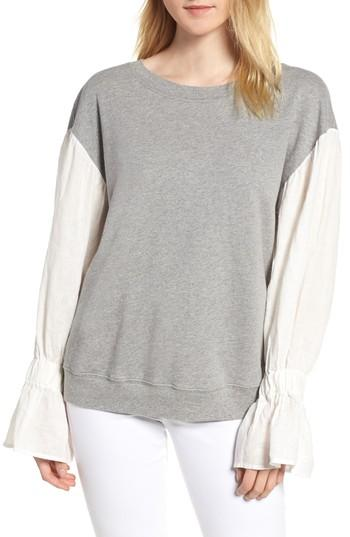 Stateside Knit Bell Sleeve Pullover In Heather Grey
