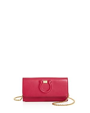 Salvatore Ferragamo Leather Chain Wallet In Begonia Pink/gold