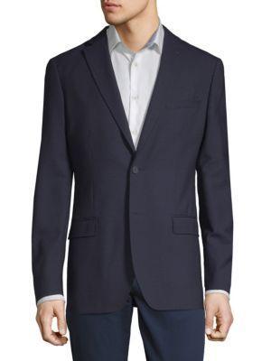 Dkny Slim-Fit Tonal Grid Wool Blazer In Navy