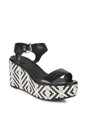 a806a0a9b Frye Heather Woven Leather Wedge Sandals In Black Multi
